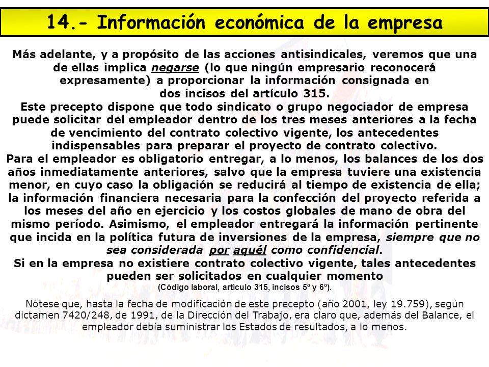 14.- Información económica de la empresa