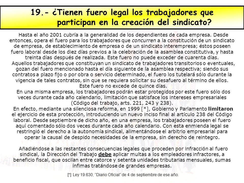 19.- ¿Tienen fuero legal los trabajadores que