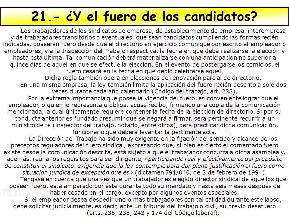 21.- ¿Y el fuero de los candidatos