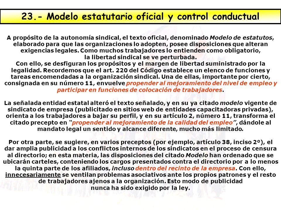 23.- Modelo estatutario oficial y control conductual
