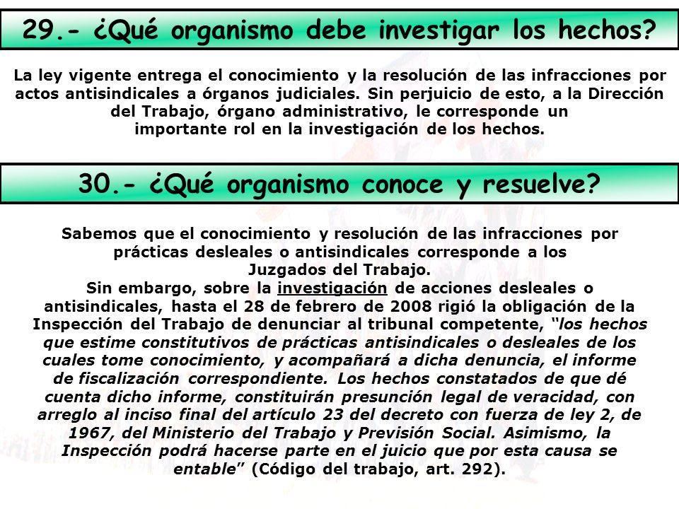 29.- ¿Qué organismo debe investigar los hechos