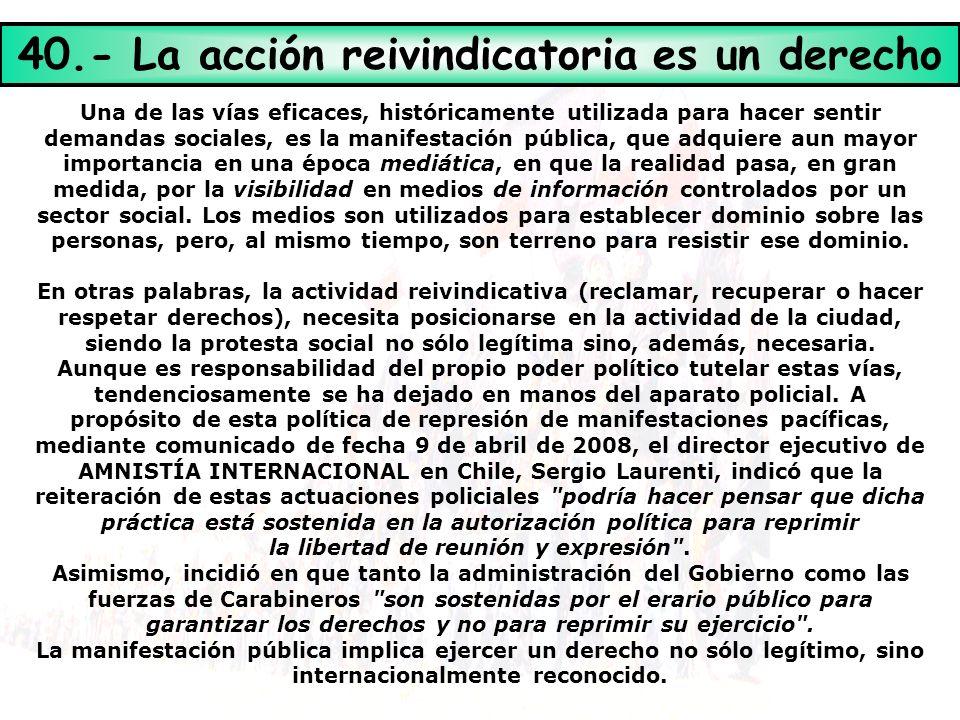 40.- La acción reivindicatoria es un derecho