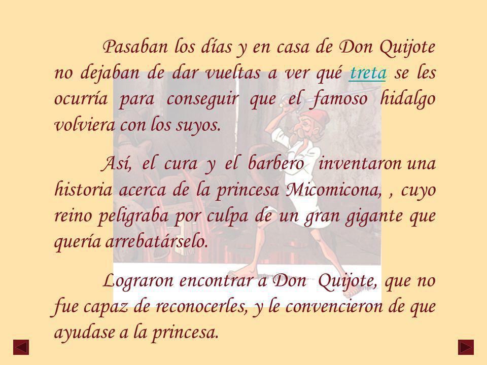 Pasaban los días y en casa de Don Quijote no dejaban de dar vueltas a ver qué treta se les ocurría para conseguir que el famoso hidalgo volviera con los suyos.