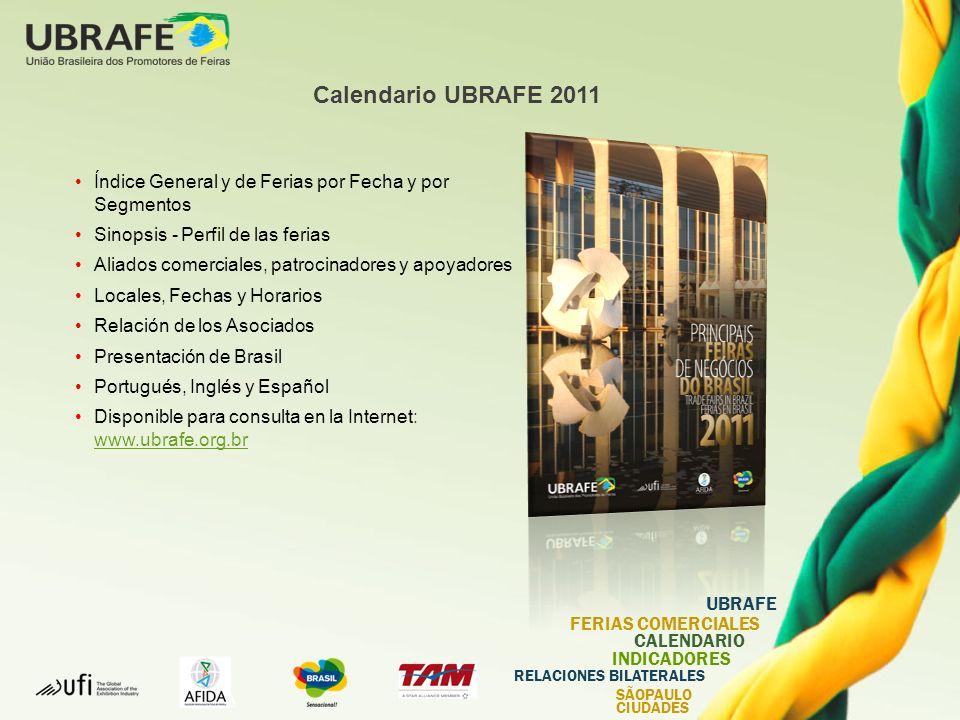 Calendario UBRAFE 2011 Índice General y de Ferias por Fecha y por Segmentos. Sinopsis - Perfil de las ferias.