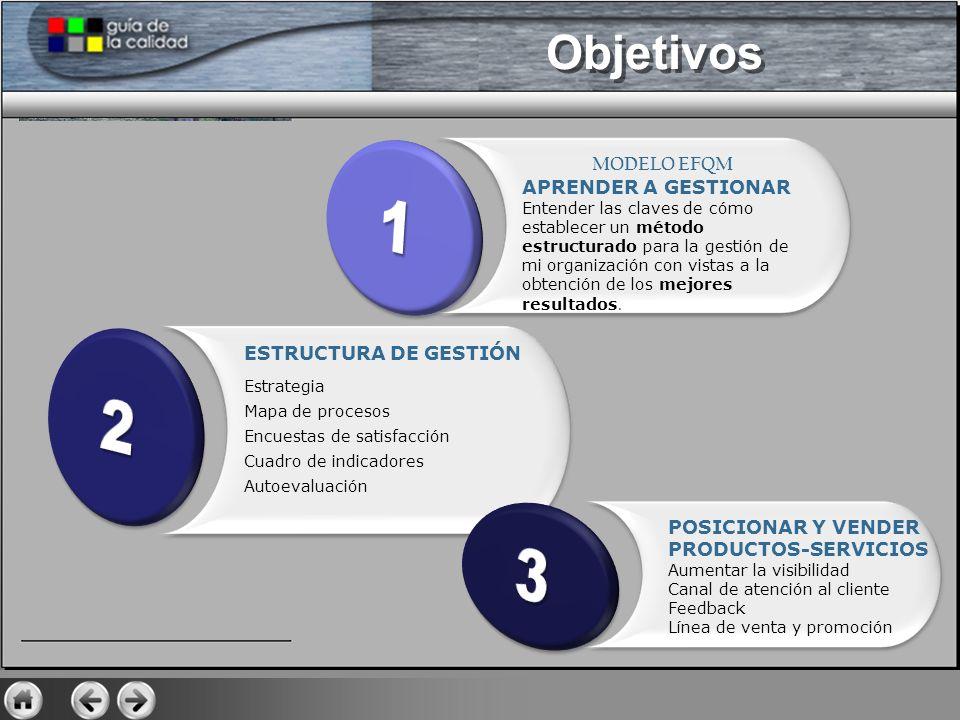 1 2 3 Objetivos MODELO EFQM APRENDER A GESTIONAR ESTRUCTURA DE GESTIÓN