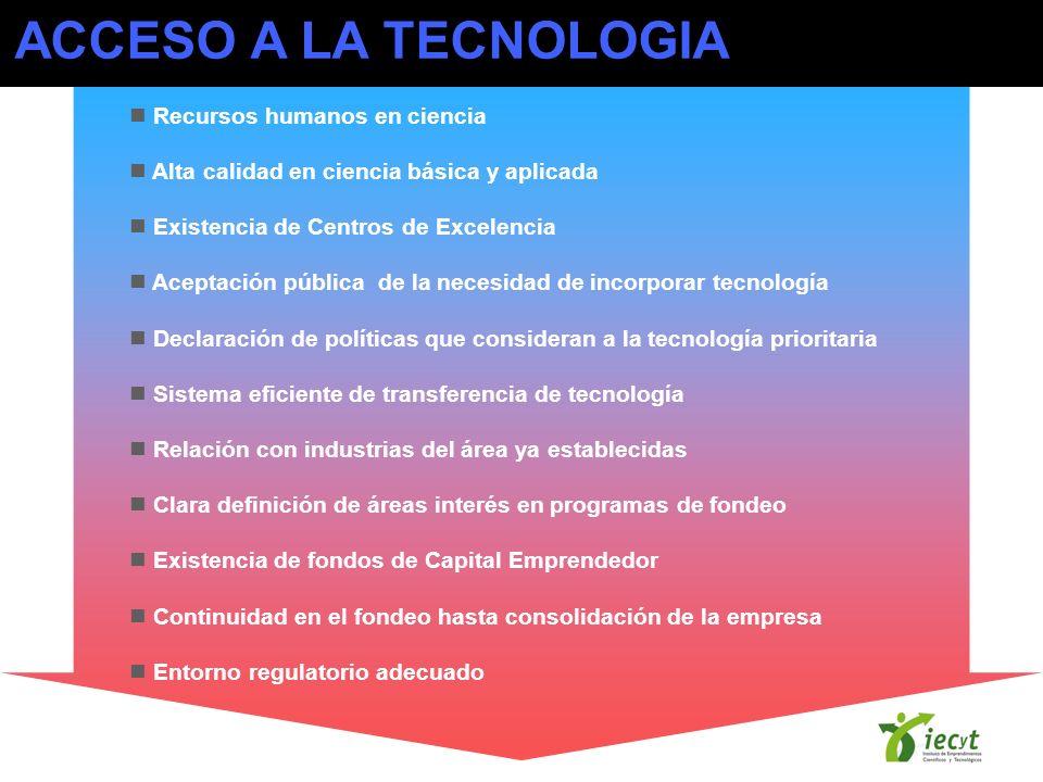 ACCESO A LA TECNOLOGIA Recursos humanos en ciencia