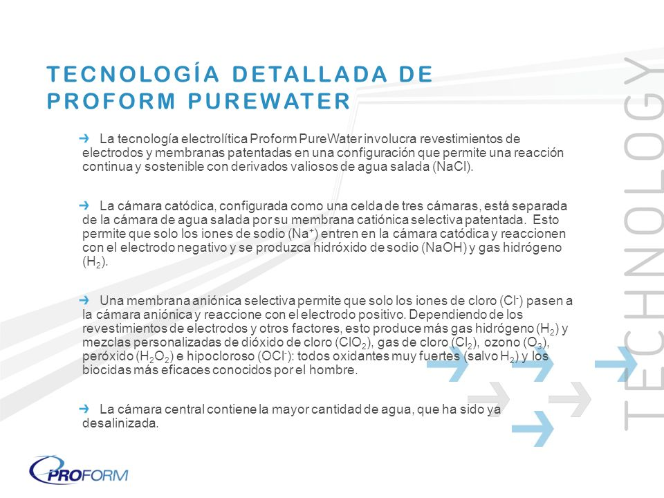 TECNOLOGÍA DETALLADA DE PROFORM PUREWATER