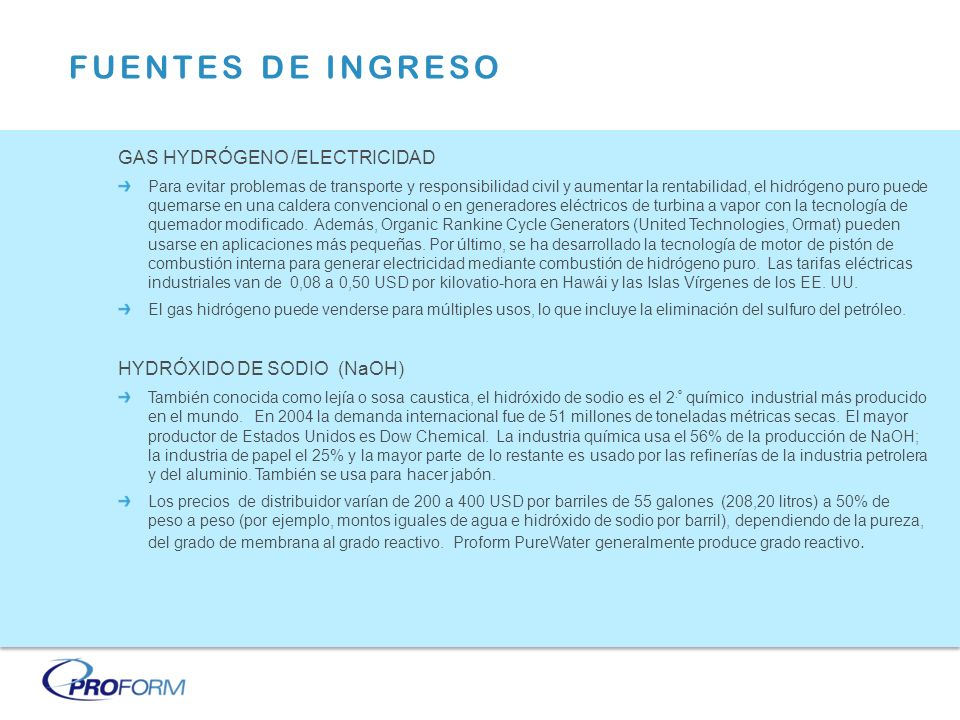 FUENTES DE INGRESO GAS HYDRÓGENO /ELECTRICIDAD