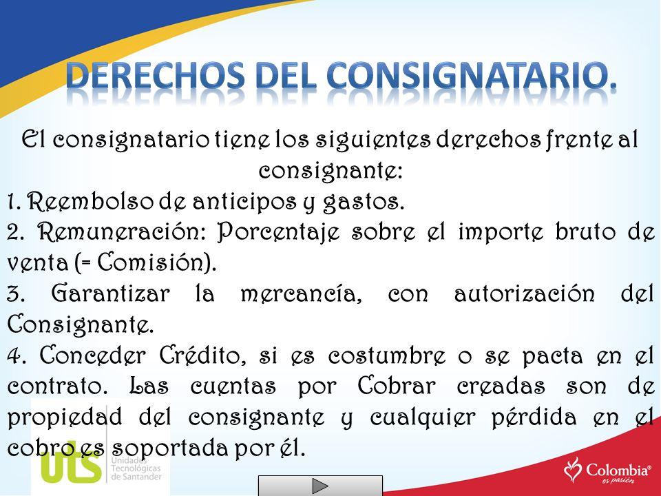 Derechos del Consignatario.