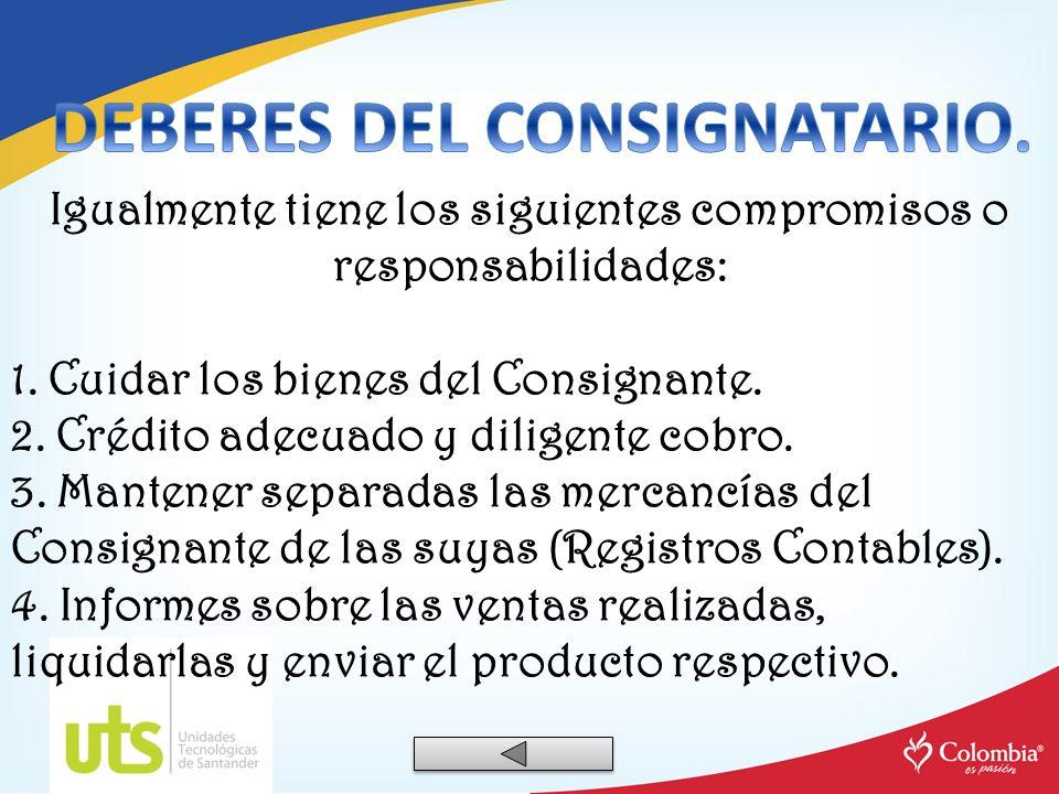 DEBERES DEL CONSIGNATARIO.