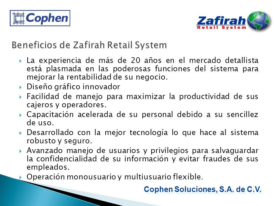 Beneficios de Zafirah Retail System