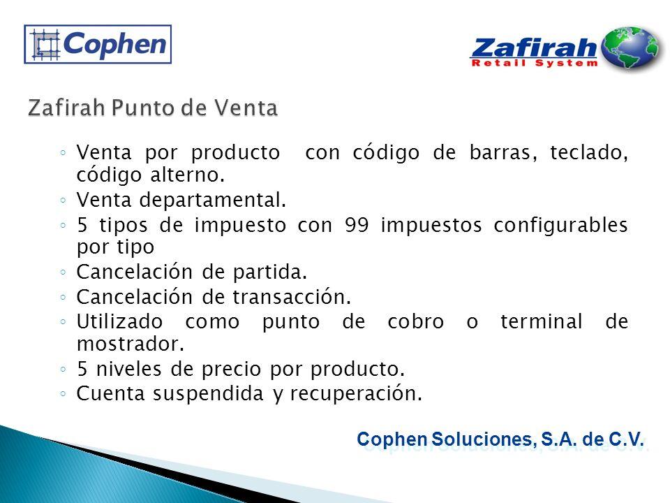 Zafirah Punto de Venta Venta por producto con código de barras, teclado, código alterno. Venta departamental.