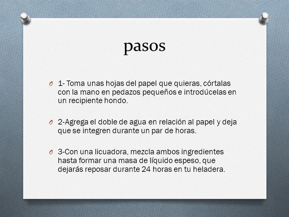 pasos 1- Toma unas hojas del papel que quieras, córtalas con la mano en pedazos pequeños e introdúcelas en un recipiente hondo.