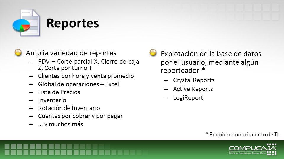 Reportes Amplia variedad de reportes