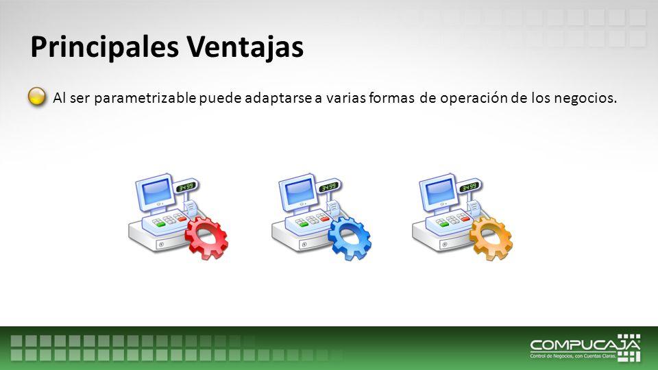 Principales Ventajas Al ser parametrizable puede adaptarse a varias formas de operación de los negocios.