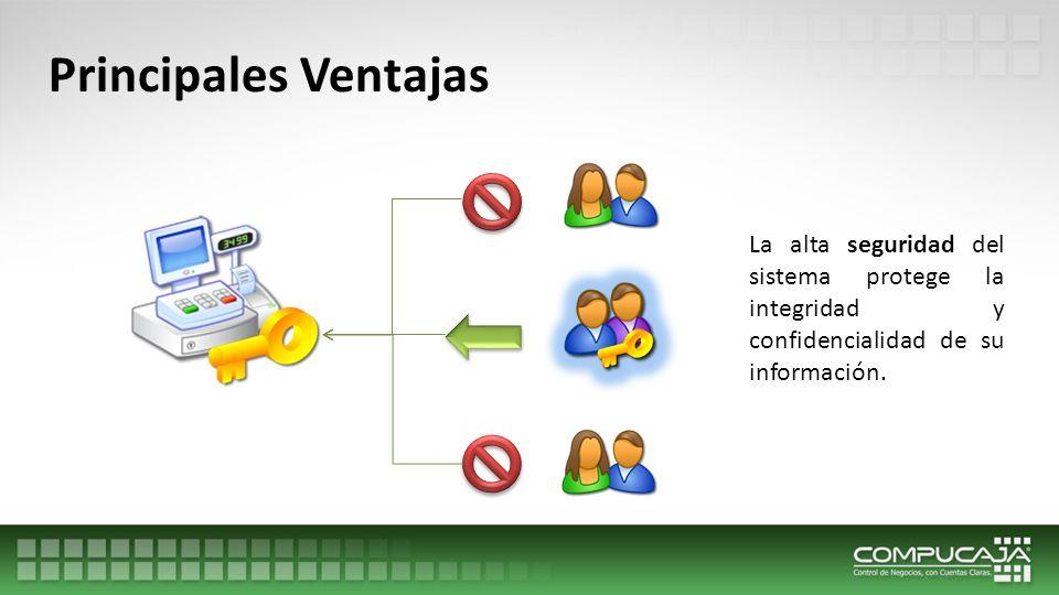 Principales Ventajas La alta seguridad del sistema protege la integridad y confidencialidad de su información.