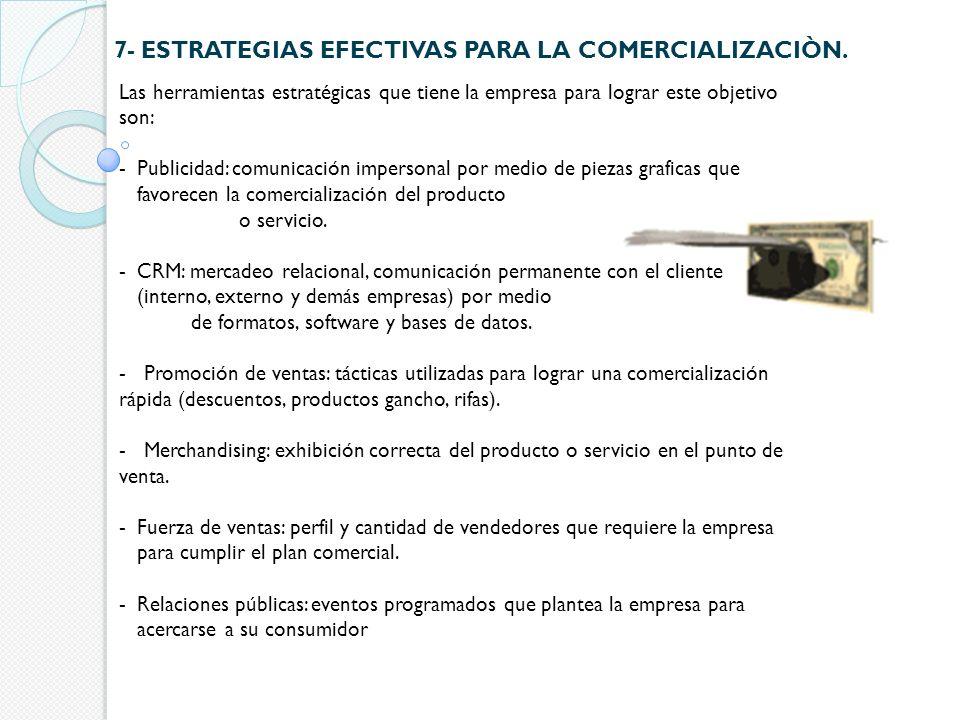 7- ESTRATEGIAS EFECTIVAS PARA LA COMERCIALIZACIÒN.