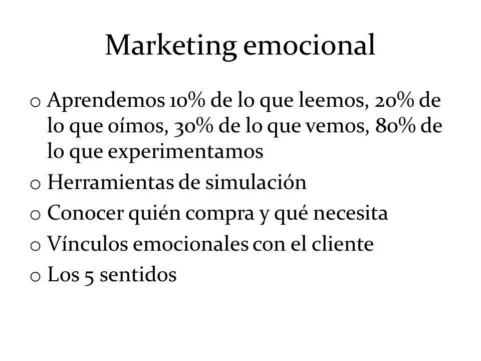 Marketing emocional Aprendemos 10% de lo que leemos, 20% de lo que oímos, 30% de lo que vemos, 80% de lo que experimentamos.
