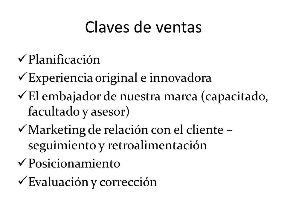 Claves de ventas Planificación Experiencia original e innovadora