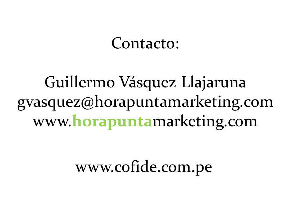 Contacto: Guillermo Vásquez Llajaruna gvasquez@horapuntamarketing