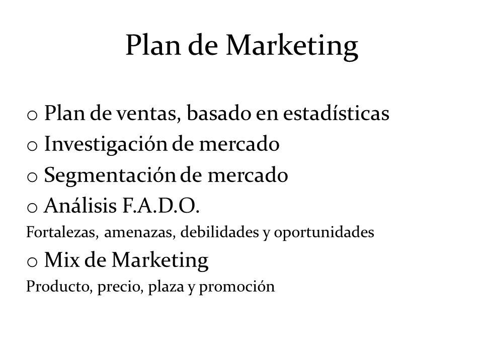 Plan de Marketing Plan de ventas, basado en estadísticas