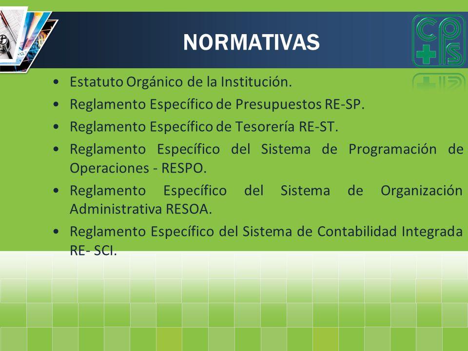 NORMATIVAS Estatuto Orgánico de la Institución.