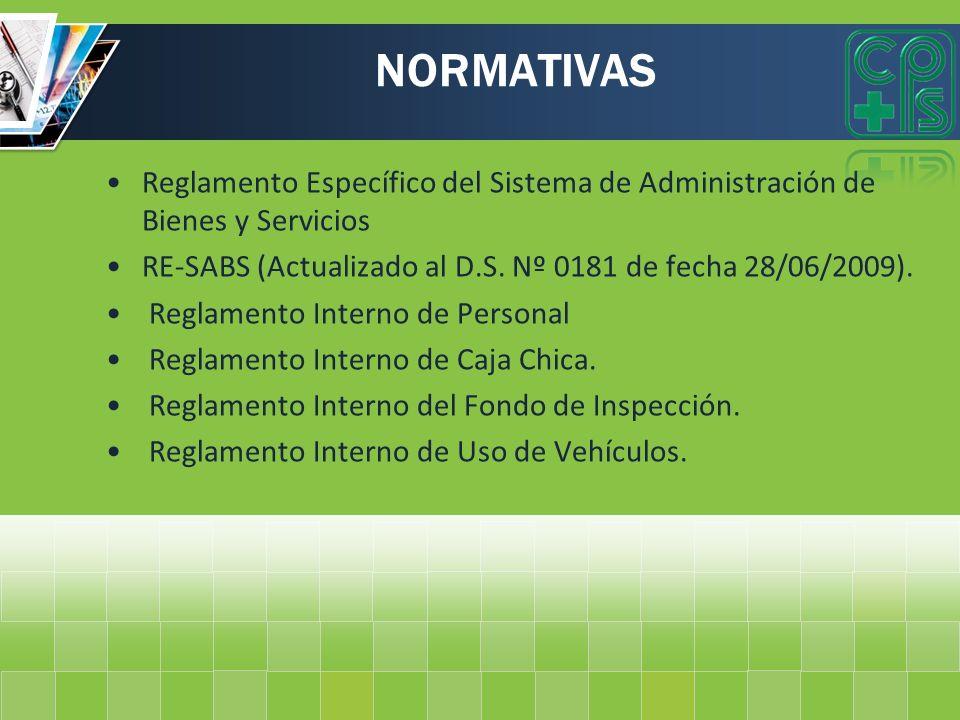 NORMATIVAS Reglamento Específico del Sistema de Administración de Bienes y Servicios. RE-SABS (Actualizado al D.S. Nº 0181 de fecha 28/06/2009).