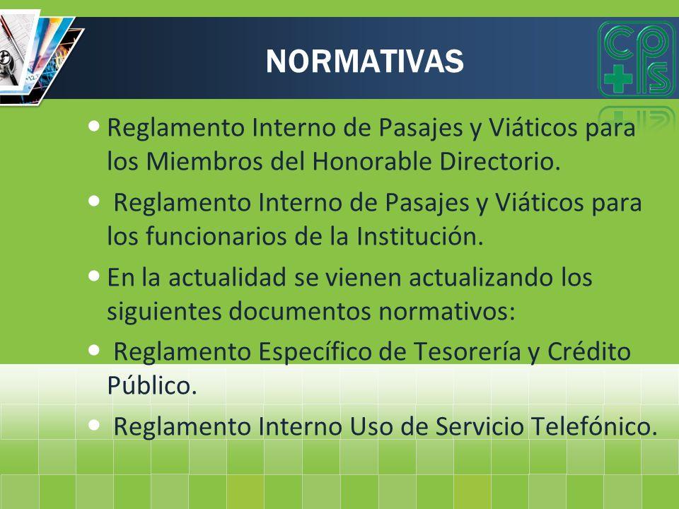 NORMATIVAS Reglamento Interno de Pasajes y Viáticos para los Miembros del Honorable Directorio.