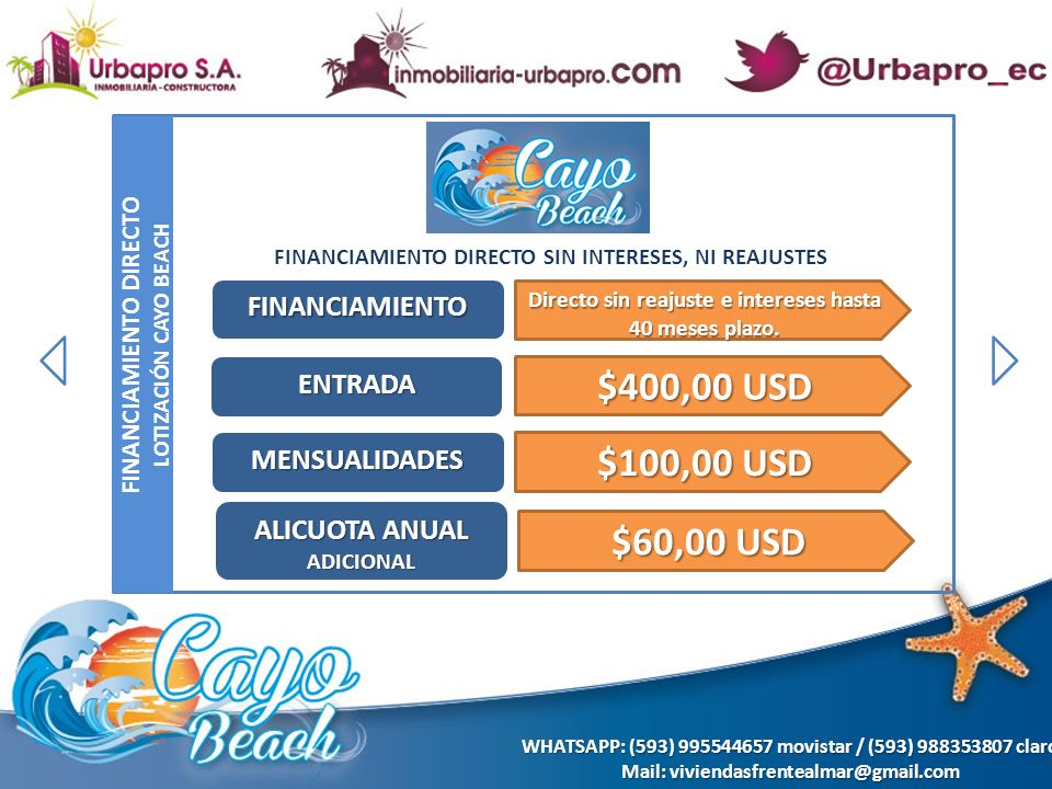 $400,00 USD $100,00 USD $60,00 USD FINANCIAMIENTO ENTRADA