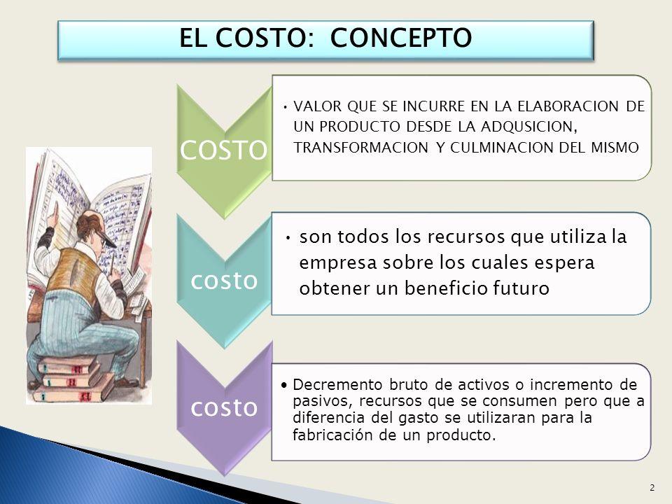EL COSTO: CONCEPTO COSTO. VALOR QUE SE INCURRE EN LA ELABORACION DE UN PRODUCTO DESDE LA ADQUSICION, TRANSFORMACION Y CULMINACION DEL MISMO.