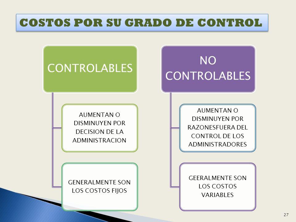 COSTOS POR SU GRADO DE CONTROL