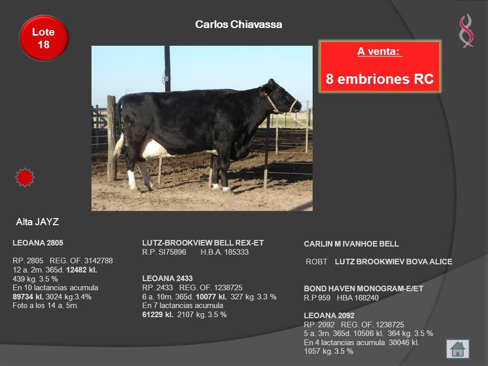 8 embriones RC Carlos Chiavassa Lote 18 A venta: Alta JAYZ