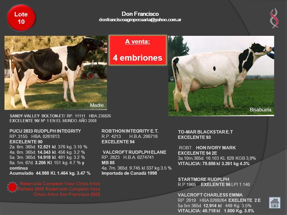 4 embriones Lote 10 A venta: Don Francisco Madre Bisabuela