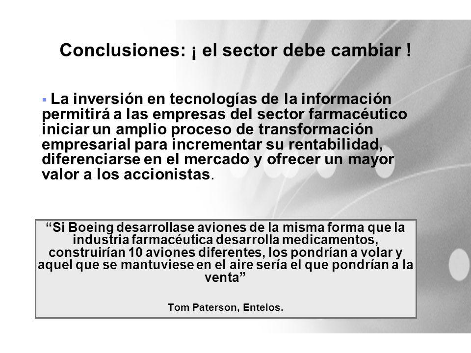 Conclusiones: ¡ el sector debe cambiar !