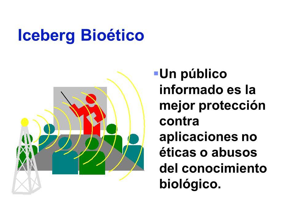 Iceberg Bioético Un público informado es la mejor protección contra aplicaciones no éticas o abusos del conocimiento biológico.