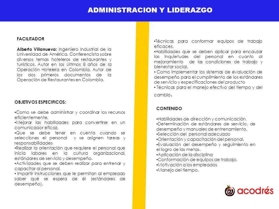 ADMINISTRACION Y LIDERAZGO GESTION DE TALENTO HUMANO