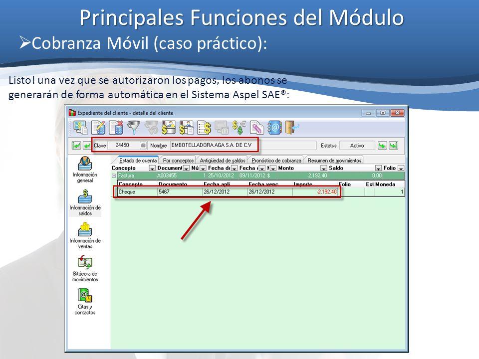 Principales Funciones del Módulo