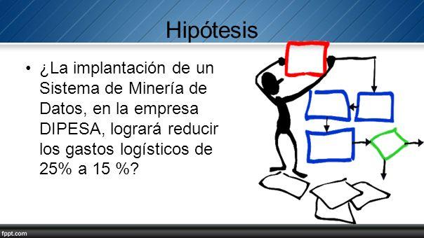 Hipótesis ¿La implantación de un Sistema de Minería de Datos, en la empresa DIPESA, logrará reducir los gastos logísticos de 25% a 15 %
