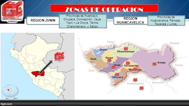 Provincias de Huancavelica, Pampas, Tayacaja y Lircay