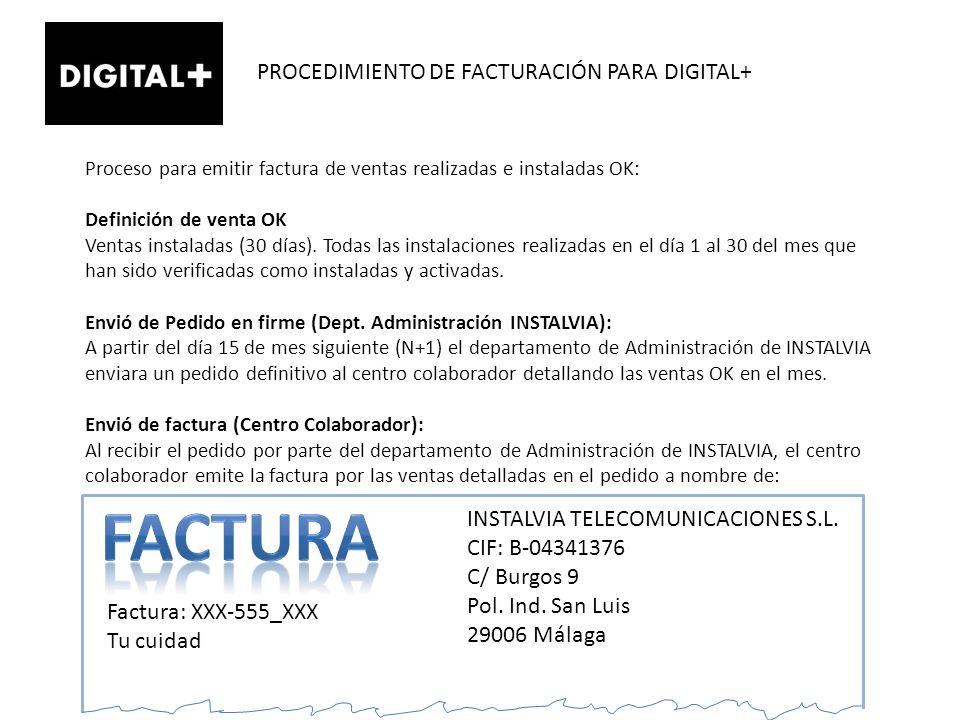 FACTURA PROCEDIMIENTO DE FACTURACIÓN PARA DIGITAL+
