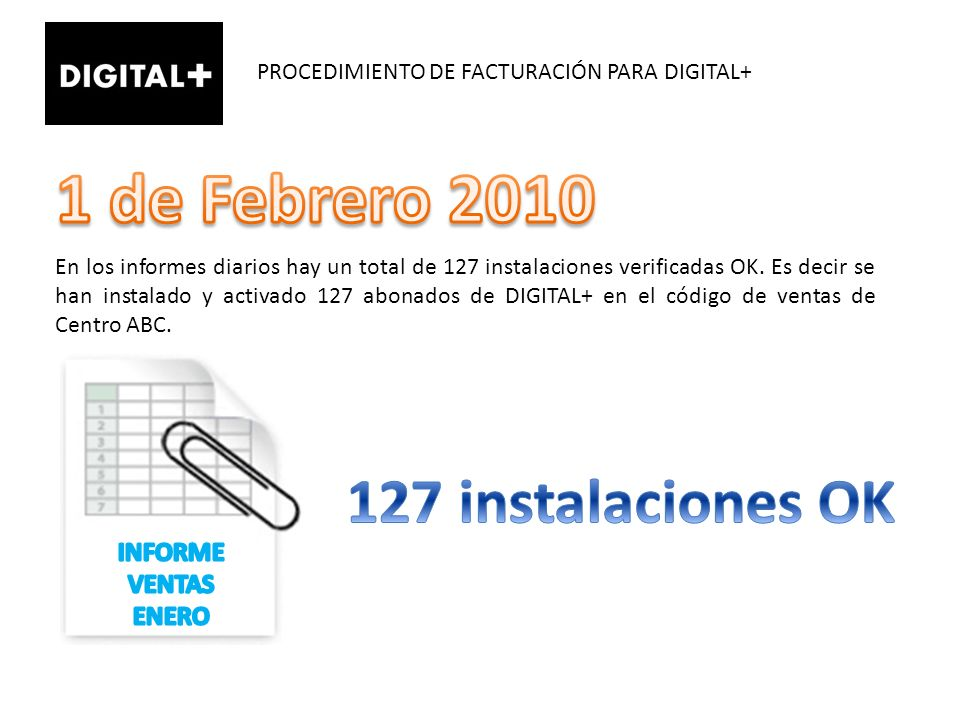 1 de Febrero 2010 127 instalaciones OK INFORME VENTAS ENERO