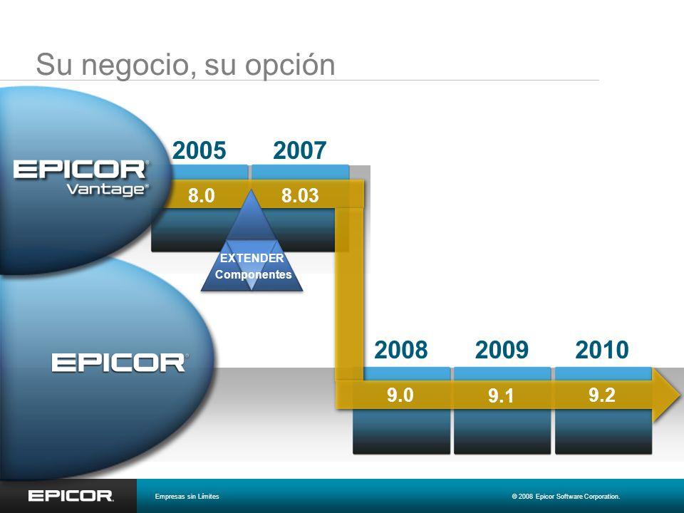 Su negocio, su opción 2005. 2007. 8.0. 8.03. EXTENDER. Componentes. 2008. 2009. 2010. 9.0.