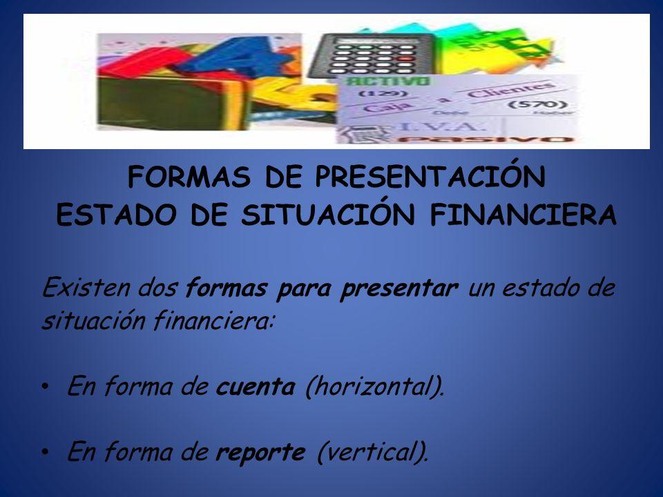 FORMAS DE PRESENTACIÓN ESTADO DE SITUACIÓN FINANCIERA
