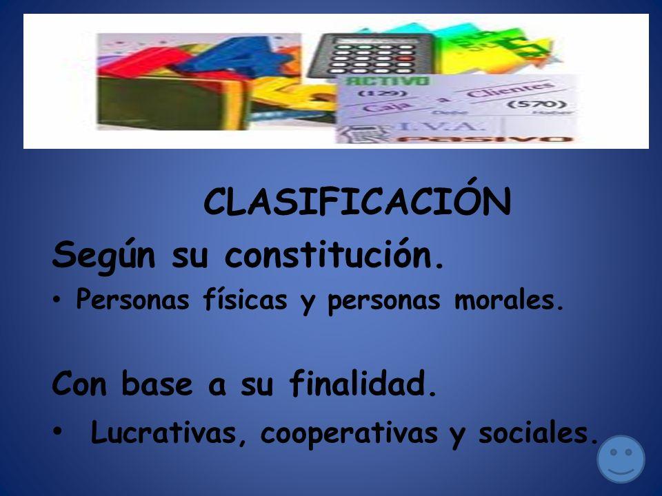 CLASIFICACIÓN Según su constitución. Con base a su finalidad.