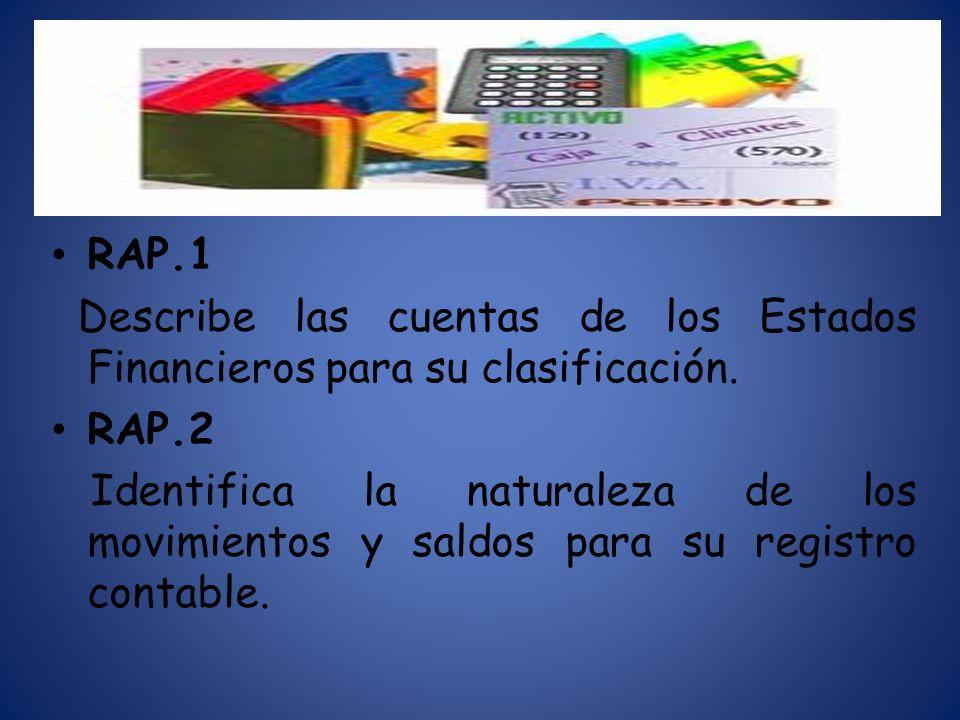 RAP.1 Describe las cuentas de los Estados Financieros para su clasificación. RAP.2.