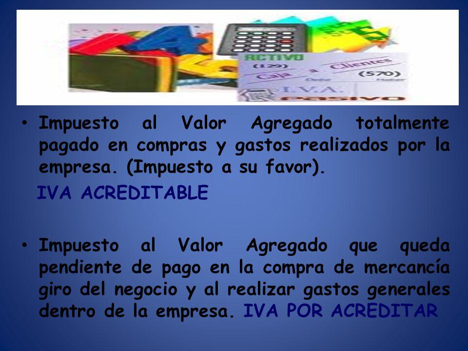 Impuesto al Valor Agregado totalmente pagado en compras y gastos realizados por la empresa. (Impuesto a su favor).
