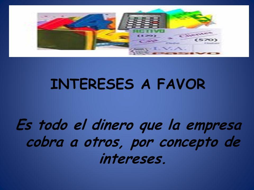 INTERESES A FAVOR Es todo el dinero que la empresa cobra a otros, por concepto de intereses.