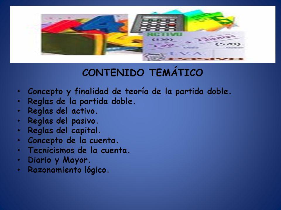 CONTENIDO TEMÁTICO Concepto y finalidad de teoría de la partida doble.