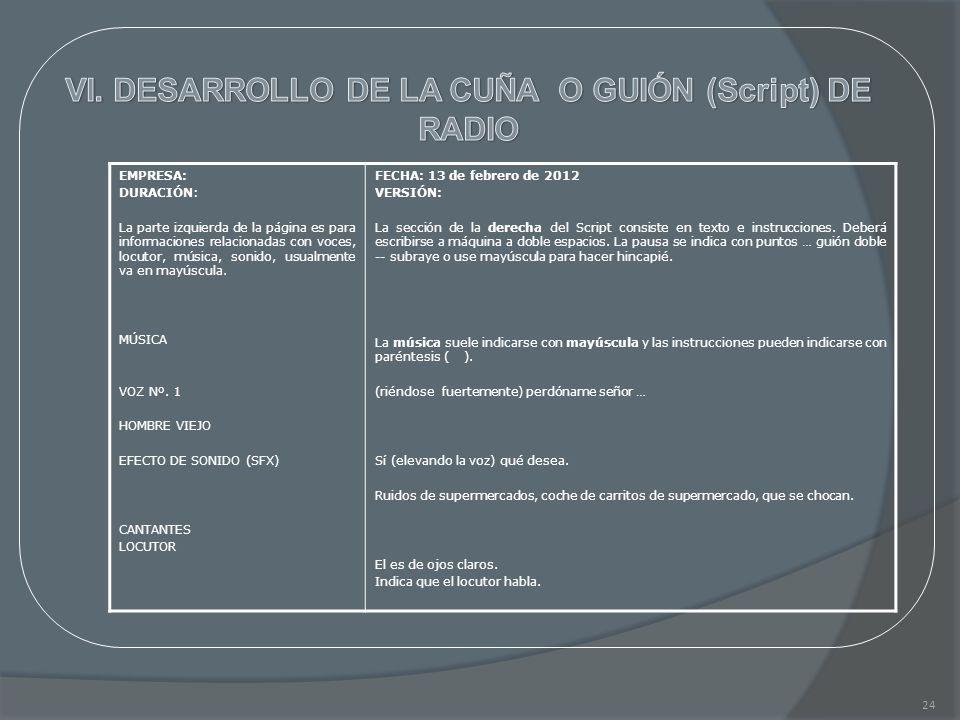 VI. DESARROLLO DE LA CUÑA O GUIÓN (Script) DE RADIO