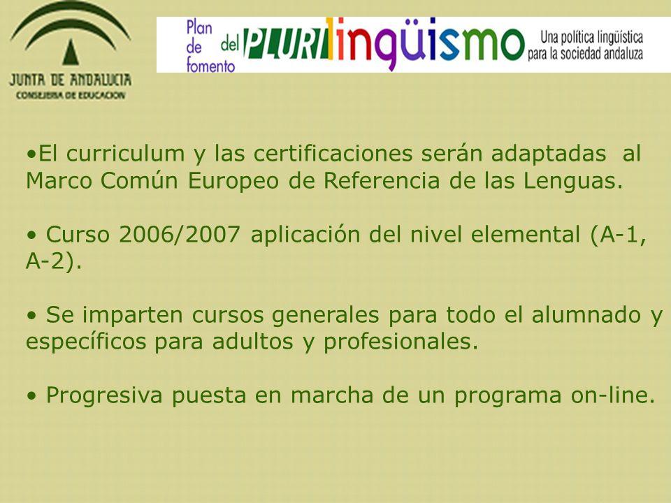 El curriculum y las certificaciones serán adaptadas al Marco Común Europeo de Referencia de las Lenguas.